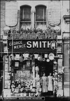 Victorian hardware shop front on 19 High Street, Maidstone, Kent Victorian Street, Victorian Life, Victorian London, Vintage London, Old London, Vintage Shops, Antique Photos, Vintage Photographs, Old Pictures
