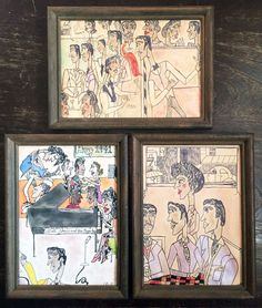 Set of 3 VTG Illustrations of 1941 African American Black Juke Joint Bar Sailors #OutsiderArt