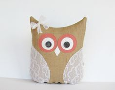 decorative burlap coral owl pillow, vintage upcycled lace, rustic, country cottage, shabby chic home decor, gift for her. $35.00, via Etsy.