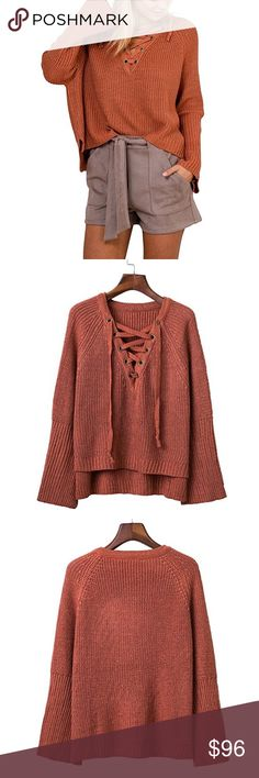 Lace Up Deep V Front Chunky Knit Sweater Brick Cute lace up front, with a chic, deep v neckline, luxe, soft chunky knit with a slouchy, comfortable fit. OSFM (sizes 0-12)  ❌ Sorry, no trades.  loose fit cable waffle knit chunky slouchy oversized sweater eyelet ruffle sleeve  fairlygirly fairlygirly Sweaters V-Necks