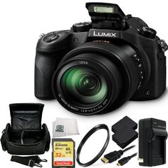"""Panasonic Lumix DMC-FZ1000 4K QFHD/HD 16X Long Zoom Digital Camera (Black) + 32GB BUndle 8PC Accessory Kit. Includes SanDisk Extreme 32GB UHS-I/U3 SDHC Memory Card (SDSDXN-032G-G46) + 2 Extended Life Replacement Batteries + Charger + Carrying Case + UV Filter + Micro HDMI Cable + Microfiber Cleaning Cloth. 20.1MP 1"""" High Sensitivity MOS Sensor. 4K QFHD Video Recording at 30 fps. 3.0"""" 921k-Dot Free-Angle LCD Monitor. Built-In Wi-Fi Connectivity with NFC. ISO 25600 and 50 fps Continuous…"""