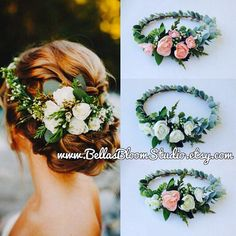 Succulent Crown Greenery Crown Eucalyptus crown Adult flower crown Cream Flower crown Succulent Succulent Bridal Halo Etsy This floral crown Bridal Hair Vine, Wedding Headband, Hair Wedding, Bridal Updo, Bridal Crown, Bridesmaid Headpiece, Wedding Crowns, Bride Headband, Wedding Veils