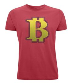 Exclusive to Love and Design - BIG Bitcoin B T Shirt in Red