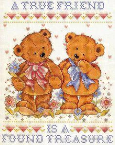 Mille schemi a punto croce gratuiti per tutti: Schema punto croce per bambini: teneri orsetti