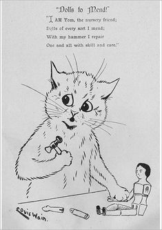 inch Canvas Print (other products available) - Louis Wain - Dolls to mend. <br> circa - Image supplied by Mary Evans Prints Online - Box Canvas Print made in the USA Fine Art Prints, Framed Prints, Canvas Prints, Louis Wain Cats, Cat Comics, A0 Poster, Wonderful Images, Photo Greeting Cards, Fun Funny