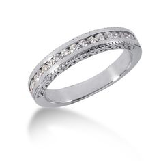 14K White Gold Vintage Style Engraved Diamond Channel Set Wedding Ring Band #weddingring