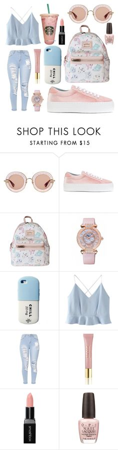 """""""Starbucks: pink/blue"""" by london-rose-love ❤ liked on Polyvore featuring Gucci, Chiara Ferragni, Loungefly, Chopard, WithChic, AERIN, Smashbox and OPI"""