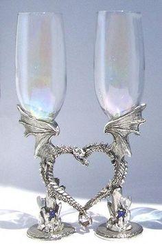 Wedding Toasting Glasses, Toasting Flutes, Champagne Glasses, Wedding Flutes, Viking Wedding, Medieval Wedding, Gothic Wedding, Pagan Wedding, Diy Wedding