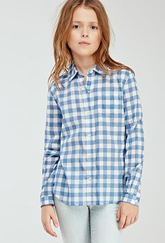 Gingham Plaid Shirt (Kids) | FOREVER21 girls - 2000080165