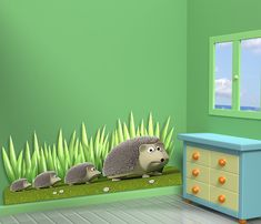 Wall decals hedgehog family A206 Stickers famille herisson