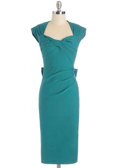 Tea Time After Time Dress in Teal. A tea break proves the perfect office afternoon pick-me-up - and at todays tea time, youre wearing this rich teal dress by Stop Staring! #green #modcloth