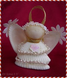 Cards ,Crafts ,Kids Projects: Shell Crafts - Shell Angels and Altered Bottle