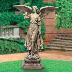 """Josephs Studio Garden Angel 46.5""""H-Whether it's the definition in the fully extended wings, or the flowing hair and robes, there is no mistaking the craftmanship of Joseph's Studio. $299.00 http://www.saintfrancisgarden.com/c21/Josephs-Studio-Garden-Angel-465H-p35.html#"""