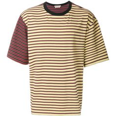 Marni contrast sleeve striped T-shirt ($380) ❤ liked on Polyvore featuring men's fashion, men's clothing, men's shirts, men's t-shirts, red, mens stripe shirts, mens red t shirt, mens short sleeve shirts, mens striped shirt and mens red striped shirt