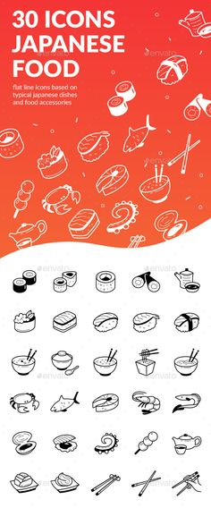 Japanese Food Icons — Photoshop PSD #roll #fish • Download ➝ https://graphicriver.net/item/japanese-food-icons/19427145?ref=pxcr
