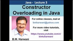 Explains constructor overloading in Java. The code is tested and run on NetBeans IDE. The entire concept is explained step by step along with the detailed explanation of the complete code. This video is online java tutorial that teaches constructor concept and makes you understand how constructor overloading is done.  If you want to learn java programming and its OOPs technique along with the constructor overloading logic then this lecture is for you.