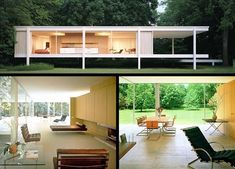 Modern - Farnsworth House, Illinois. designed by Miss Van der Rohe
