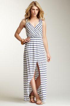 Striped Surplice Maxi Dress