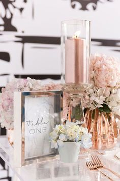 Rose gold décor feels extra chic with the addition of hydrangeas.