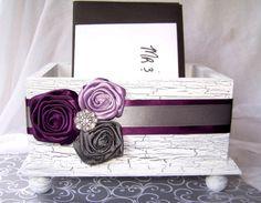 Wedding Card BOX  Wooden White Shabby Chic Box  Purple by itsmyday, $55.00