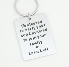 Lightweight aluminum mother of groom or father of groom wedding gift - Signed gift for father in law or mother in law keychain. NOTE TO BUYER: You are purchasing a key chain in the format/design shown in the FIRST photo; the only customized part is the first name at the bottom, and you are responsible for providing the correct info. This item is made of lightweight aluminum, please do not purchase if you want heavy stainless steel. Handmade personalized light-weight aluminum keychain with...