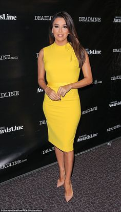 Eva Longoria Style - The 41-year-old radiated a youthful summer glow on Sunday in Los Angeles as she stepped out to an industry event. #womanswear #celebrity #spring #summer #yellow #dress