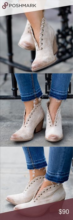 """Whip Stitch Distressed Burnished V-Cut Bootie v-cut bootie Upper: textile Outsole: man made Shaft Height: 4.5"""" Heel Height: 3"""" stacked heel whip-stitch detail Matisse X Free People Free People Shoes Ankle Boots & Booties"""
