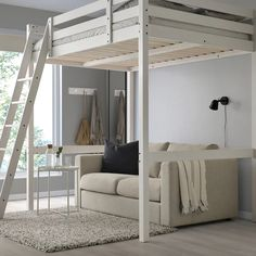 Loft Beds For Small Rooms, Double Loft Beds, Loft Beds For Teens, Adult Loft Bed, Small Loft, Double Room, Loft Bed Frame, Loft Bunk Beds, Girl Loft Beds