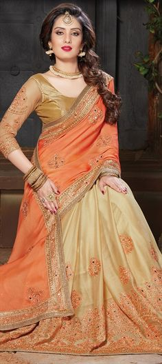 742354 Beige and Brown, Orange color family Embroidered Sarees, Party Wear Sarees in Crepe, Faux Chiffon fabric with Lace, Machine Embroidery, Mirror, Resham, Stone, Thread work with matching unstitched blouse.