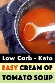 This recipe for Low Carb Keto Copy Cat Campbell's Tomato Soup is the ultimate comfort food. And each serving has just 86 calories and net carbs. Low Carb Keto, Low Carb Recipes, Healthy Recipes, Crockpot Recipes, Soup Recipes, Fennel And Orange Salad, Cream Of Tomato Soup, Sweet Potato Soup, Keto Soup