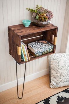 Or, screw some hairpin legs to a stained or painted crate. | 33 Gorgeous DIY Projects To Decorate Your Grown Up Apartment