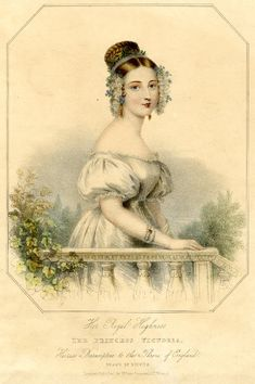 Portrait of Princess Victoria standing half-length behind a balustrade, with a plaited topknot wreathed in flowers, with blue flowers (forget-me-nots?) over lappets at side, long top and drop earrings with red-rust stones, bracelet of pearl strands with gold clasp. earlier 1830s  Lithograph printed in colours