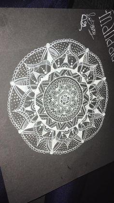 My first attempt at mandala #white #black #mandala #zentangle