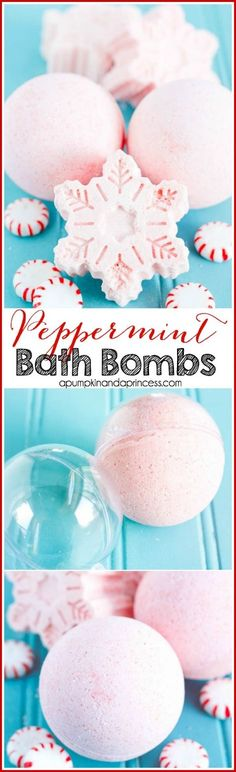 DIY Peppermint Bath Bombs - how to make bath bombs in an ornament ball or snowflake shape. These are great for Christmas!