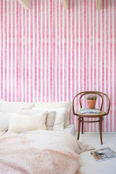 30% OFF from Watercolor wall mural, Tempoary wallpaper, Stripes pattern, BW019