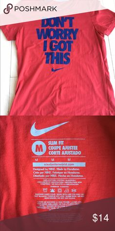 NWT Nike T-Shirt NWT Nike T-Shirt. Deep red with royal blue Size Medium. $14.00 Nike Tops Tees - Short Sleeve