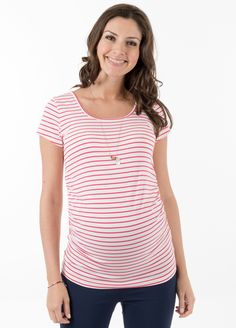 Queen Bee Lily Dream Maternity Tee in Pink Stripe by Trimester Clothing