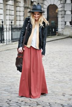 leather jacket and long skirt