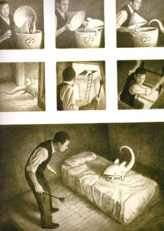 """Shaun Tan - illustration from """"The Arrival"""" A sequence showing tension between a man and a strange creature."""