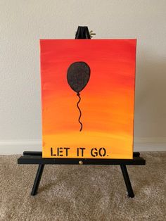 Let it go Canvas Painting Easy Canvas Art, Small Canvas Art, Easy Canvas Painting, Mini Canvas Art, Kids Canvas, Hippie Painting, Neon Painting, Cute Easy Paintings, Black Canvas Paintings