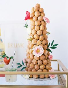 Donut towers are SO the new wedding cake. We love this idea for a whimsy summer brunch wedding.