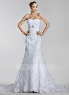 Wedding Dresses - $232.99 - A-Line/Princess Sweetheart Court Train Satin Tulle Wedding Dress With Ruffle Lace Crystal Brooch (002000637) http://jjshouse.com/A-Line-Princess-Sweetheart-Court-Train-Satin-Tulle-Wedding-Dress-With-Ruffle-Lace-Crystal-Brooch-002000637-g637?ver=0wdkv5eh