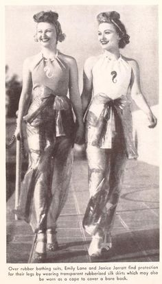 Over rubber bathing suits, Emily Lane and Janice Jarratt find protection for their legs by wearing transparent rubberized silk skirts which may also be worn as a cape to cover a bare back, from Picture Play magazine, July 1937