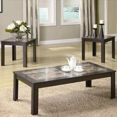 $141 Nebraska Furniture Mart – Coaster 3-Piece Table Set with Faux Marble Inset