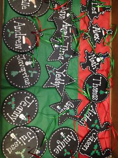 Homemade ornaments for students from teacher! Chalk board paint over wood cutouts and decorated with paint pens.