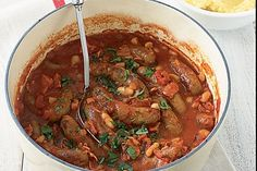 Sausage and bean stew Splash red or white wine Zucchini Carrot Capsicum Mushrooms Sausage And Bean Casserole, Sausage Stew, Sausage Recipes, Beef Recipes, Healthy Recipes, Savoury Recipes, Healthy Kids, Soup Recipes, Beef Bacon