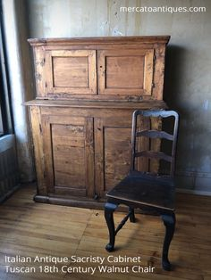 Every antique has a story. This 19th century sacristy cabinet is from a convent near Siena, Italy. The top and lower doors open and would have stored sacred vessels and church records. This 18th century Tuscan chair is from a boarding school in Siena, Italy that educated young noblewomen.  Each student was required to bring furniture from home to furnish their room. There was a condition that they leave at least one piece of furniture to the nuns, who also lived there, after finishing…