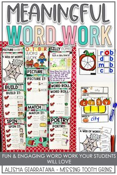 This word work station is perfect for first and second grade. These hands on activities are a great addition to literacy centers, daily five, and guided reading. This center is differentiated to meet the needs of your students in phonics skills and sight words. They are fun and engaging for all learners.