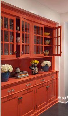 Orange butler's pantry cupboard painted in Benjamin Moore's Dark Salmon