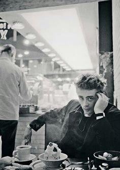 James Dean enjoying coffee and cake at a diner